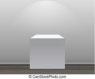 Exhibition Concept, White Empty Box, Stand with Illumination on Gray Background. Template for Your Content. 3d Vector Illustration