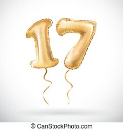 vector Golden number 17 seventeen metallic balloon. Party...