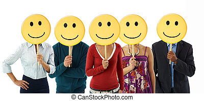 business people with emoticon - multiethnic group of people...