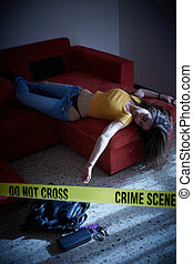 Crime scene simulation. Body of the dead college girl