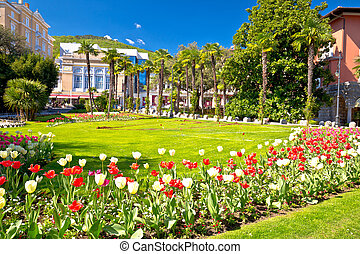 Mediterranean park in Town of Opatija flowers and palms...