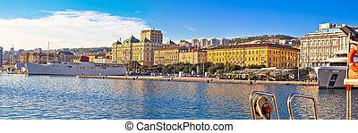 City of Rijeka waterfront boats and architecture panoramic...