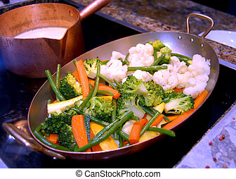 cooked vegetable - healthy colorful sauteed vegetables