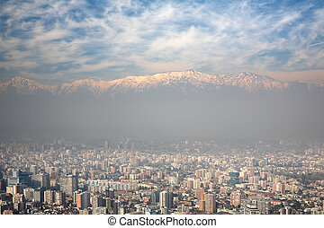 birdeye view of Andes and Santiago, Chile, view from Cerro...