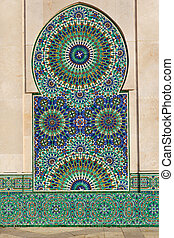Mosaic of Hassan II Mosque - Mosaic on wall of Hassan II...