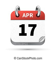 Bright realistic icon of calendar with 17 april date...