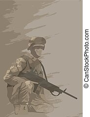 Soldier in combat position [].eps