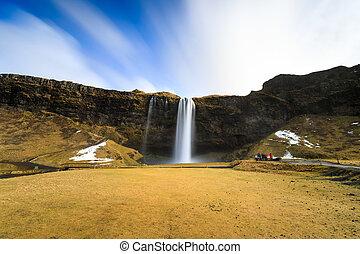 Seljalandsfoss waterfall, southern of Iceland