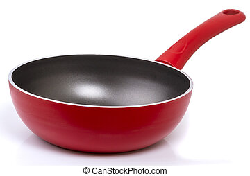 Pan with non-stick coating on white - Frying pan with...