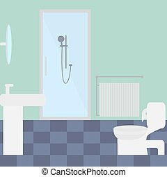 Bathroom, flat image, toilet bowl, sink, shower cubicle in...