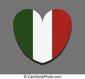 heart with flag of italy