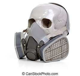 skull and respirator - Gas mask and skull a on white...