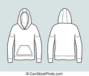 Smock - Vector illustration of jumper with hood and pocket