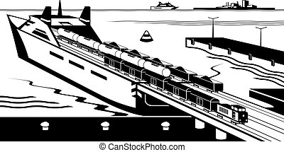 Rail freight wagons are loaded on ferry boat - vector...