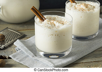 Homemade Frozen Bourbon Milk Punch with Cinnamon and Nutmeg