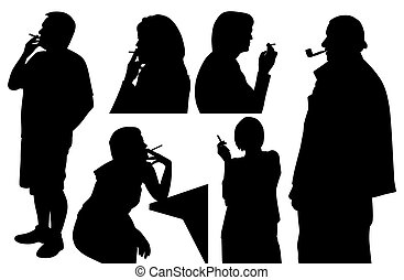 People smoking cigarette and pipe - Illustration of people...