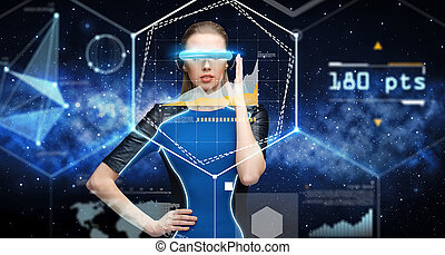 woman in virtual reality 3d glasses with charts