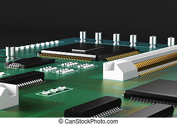 Green motherboard closeup - Close up of green motherboard on...