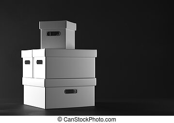 Container concept - Stacks of white boxes on dark...