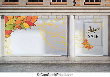 Autumnal discount concept - Storefront, window display,...