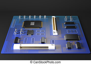 Blue motherboard front - Front view of blue motherboard on...