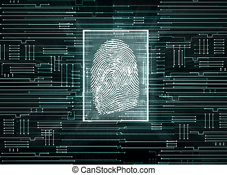 Biometrics concept - Abstract circuit background with finger...