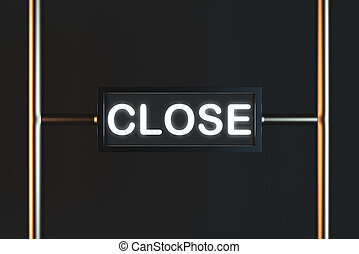 Close sign on black background - Glowing close sign on black...