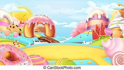 Glade in a candy land. Sweet landscape, 3d vector panorama