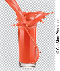 Glass of red juice and a splash. Tomato, Strawberries. 3d realism, vector icon
