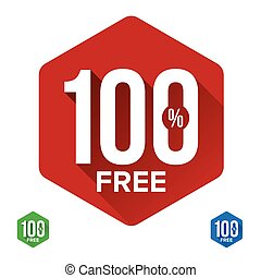 Hundred percent free sign label vector