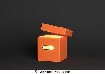 Glowing orange box on dark background. Secret concept. 3D...