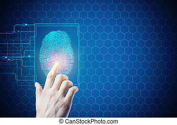 Biometrics, safety and access - Hand pressing abstract...