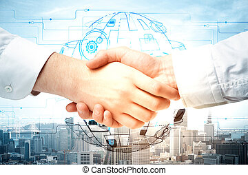 Teamwork and economy concept - Close up of handshake on...