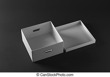 Open white box on dark background. Package concept. 3D...