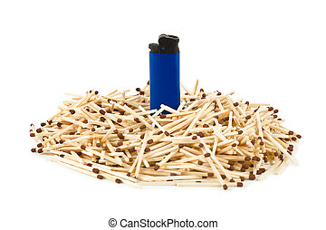 Matches and lighter - leadership concept isolated on white...