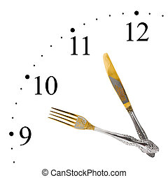 Clock made of fork and knife isolated on white background