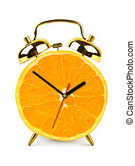 Clock made of orange fruit