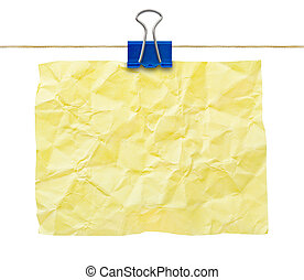 Yellow crumpled note paper