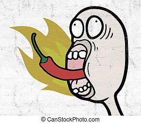 eating hot spicy chilli