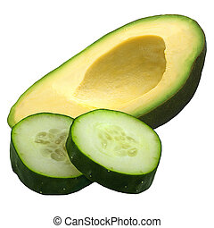 Half of avocado fruit and cucumber slices isolated