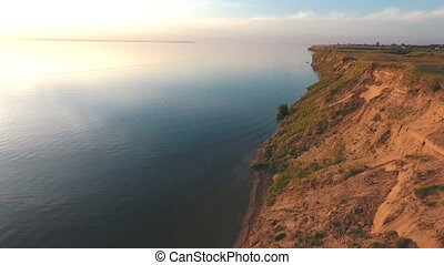 aerial shooting along the coast,Beautiful aerial view along...