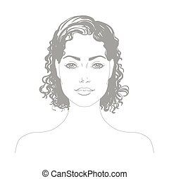 Vector portrait of the attractive girl - Vector black and...