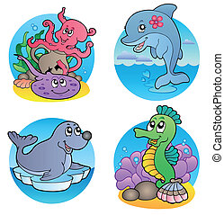Various water animals and fishes 1 - vector illustration