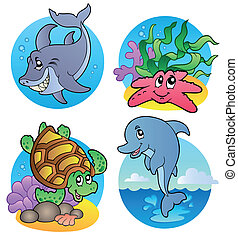 Various sea animals and fishes - vector illustration.