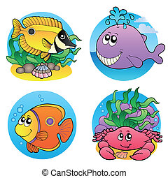 Various water animals and fishes 2 - vector illustration.