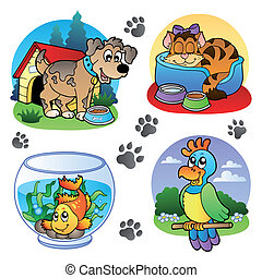 Various pets images 1 - vector illustration