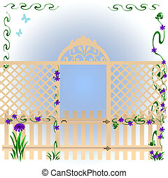 secret garden - latticed fence around morning glories soft...