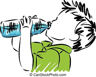 little boy drinking water vector illustration