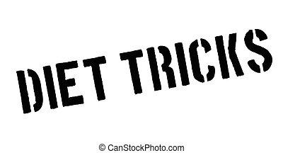 Diet Tricks rubber stamp. Grunge design with dust scratches....