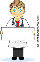 Cute boy doctor holding a blank sig - vector illustration of...